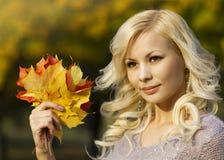 秋天时尚女孩。有黄色槭树的白肤金发的美丽的少妇在手中离开。外面。 免版税图库摄影
