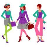 秋天时尚女孩集合 免版税库存图片