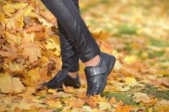 秋天时尚,在妇女` s腿的鞋子 免版税库存图片