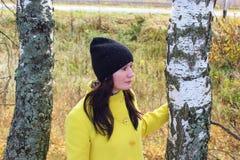 秋天时间:摆在反对一个秋季桦树森林的一件黄色外套的美丽的女孩 免版税库存照片