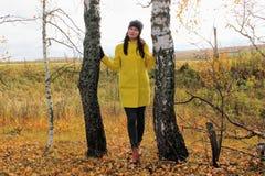 秋天时间:摆在反对一个秋季桦树森林的一件黄色外套的美丽的女孩 库存照片