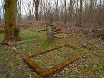 秋天时间在老被放弃的和被彻底搜索的犹太公墓 免版税库存图片