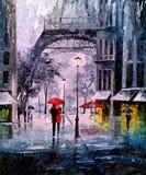 秋天晚上在巴黎 在纸的绘的湿水彩 天真艺术 在纸的图画水彩 库存图片