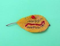 秋天有手写的文本的核桃叶子 图库摄影