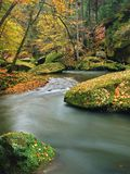 秋天有被弄脏的波浪的,新鲜的绿色生苔石头,五颜六色的秋天山河 库存图片