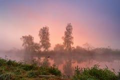 秋天有雾的早晨 在有薄雾的河的五颜六色的黎明 图库摄影