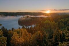 秋天有雾的早晨 库存照片