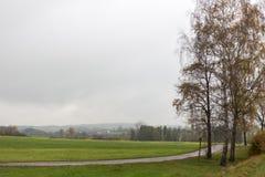 秋天有雾的横向 图库摄影