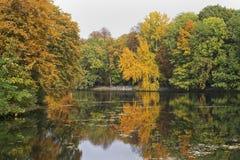 秋天杜塞尔多夫hofgarten湖 图库摄影