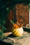 秋天构成用小红色苹果,在葡萄酒大农场主,落叶松属分支的干石榴在泥罐,在金属片的花瓶的 免版税库存照片