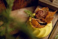 秋天构成用小红色苹果,在葡萄酒大农场主,落叶松属分支的干石榴在泥罐,在金属片的花瓶的 免版税图库摄影