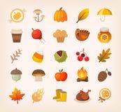 秋天标志和sybols 库存例证