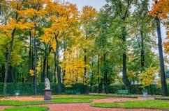 秋天树、古老大理石象、草坪和长凳看法  免版税库存照片