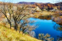 秋天树和深蓝湖水 免版税库存照片