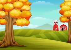 秋天树在农场环境美化与谷仓和风车 向量例证