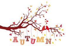 秋天树枝,传染媒介 免版税库存图片