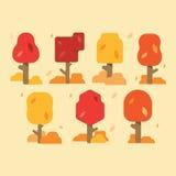 秋天树的汇集,在白色背景 不同的形状秋天树的简单的收藏  传染媒介illustrati 库存照片