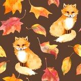 秋天样式-逗人喜爱的狐狸动物,红色离开 无缝的水彩 库存照片