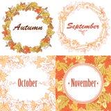 秋天框架和花圈与叶子 免版税库存图片