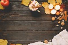 秋天框架由干秋天制成离开,杯子可可粉与marshmellows,坚果,桂香,格子花呢披肩,苹果 在棕色木头后面的顶视图 库存图片