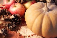 秋天桌、南瓜、苹果和锥体木表面上 库存图片