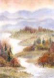 秋天桥梁横向公园小的水彩 河在秋天森林里 免版税图库摄影