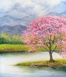 秋天桥梁横向公园小的水彩 由湖的开花的桃红色树 免版税库存照片