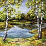 秋天桦树海岸 库存图片