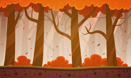 秋天森林动画片背景 免版税库存照片