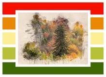 秋天森林和色的长方形拼贴画  库存例证