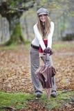 秋天森林女孩 库存照片