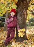 秋天森林摆在,黄色叶子和树的女孩在背景 免版税库存图片