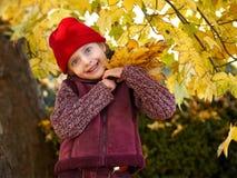 秋天森林摆在,黄色叶子和树的女孩在背景 库存图片