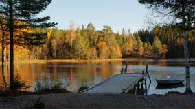 秋天森林湖横向 库存照片