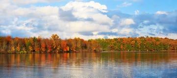 秋天森林的背景的湖。 库存照片