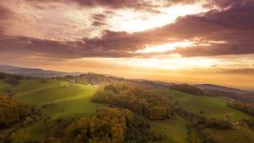 秋天森林的鸟瞰图 免版税库存图片