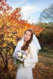 秋天森林backgr的年轻美丽的愉快的亭亭玉立的微笑的新娘 免版税库存图片