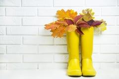 秋天概念以走的黄色胶靴在多雨天气 免版税图库摄影