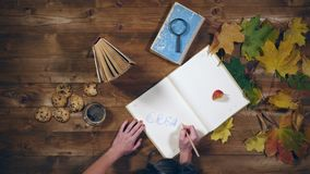 秋天概念顶视图 书,槭树在老木桌离开,茶 妇女在笔记本的文字笔记 股票视频