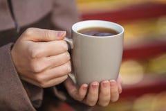 秋天概念-在公园长椅的秋天妇女饮用的咖啡下 免版税图库摄影