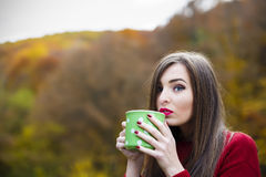 秋天概念-在公园长椅的秋天妇女饮用的咖啡下 库存照片