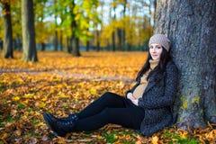 秋天概念-愉快的年轻美丽的怀孕的woma画象  免版税库存图片