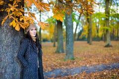 秋天概念-走在pa的年轻美丽的妇女画象  免版税库存图片