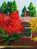 秋天槭树油画 免版税图库摄影