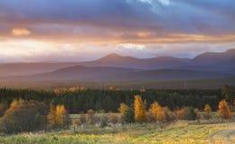 秋天横向日出 库存图片