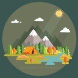 秋天横向 在山的早晨横向 孑然 库存照片