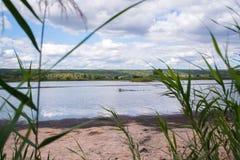 秋天横向 池塘在一个晴天 免版税库存图片
