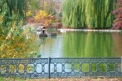 秋天横向 湖和小屋鸭子的,树与绿色,黄色叶子,金属篱芭 免版税库存照片