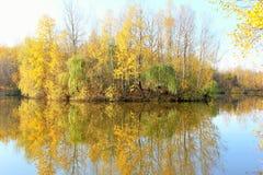 秋天横向 湖 海岛 免版税图库摄影