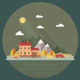 秋天横向 红色汽车, moun背景的别墅  免版税库存照片